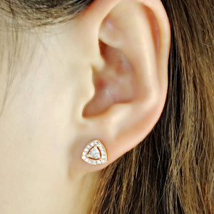 5ps/Lot Rose Gold Plated Sterling Silver Trillion Cz Earrings Studs Wholesale 2
