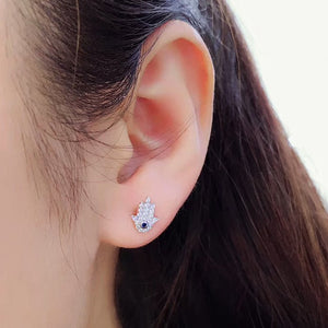Sterling Silver Evil Eye Hamsa Earrings Studs Wholesale 2