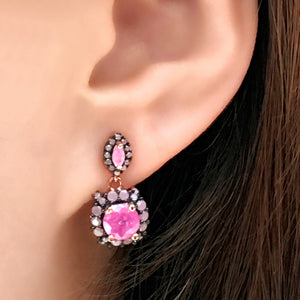 Sterling Silver Rose Quartz Dangle Earrings Wholesale 4