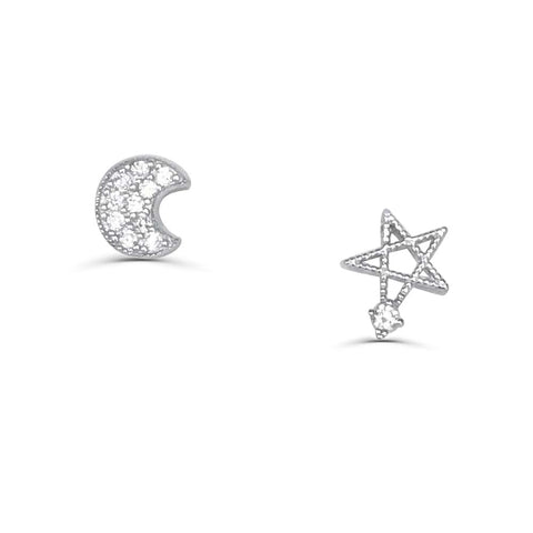 Sterling Silver Moon and Star Silver Earrings Wholesale