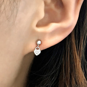 Sterling Silver Tiny Heart Drop Earrings Studs Wholesale 2