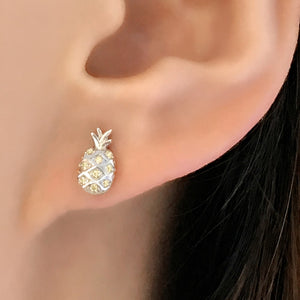 Sterling Silver Yellow CZ Pineapple Earrings Wholesale