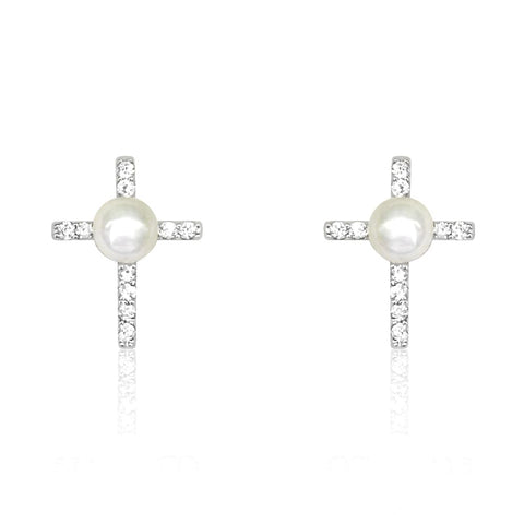 Sterling Silver Shell Pearl Cross Earrings Wholesale