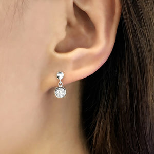 925 Silver Cubic Zirconia Small Disc Earrings Dangle Wholesale