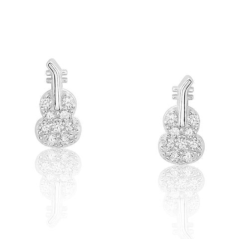 Silver Cubic Zirconia Guitar Earrings Studs Wholesale