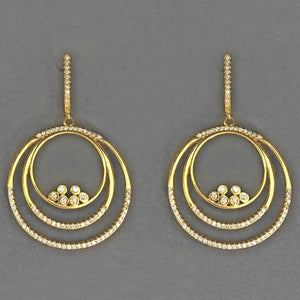 Gold Plated Sterling Silver Large Round Dangle Earrings Wholesale 2