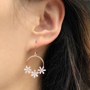 Sterling Silver Round Dangle Flower Earrings Wholesale 2