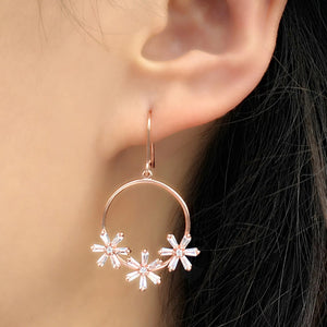 Sterling Silver Round Dangle Flower Earrings Wholesale