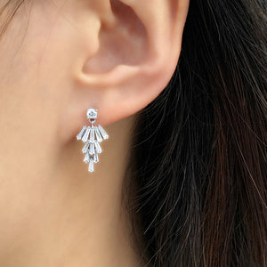 Sterling Silver Tapered Baguette CZ Cluster Earrings Dangle Wholesale 2