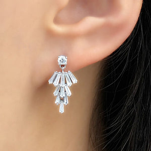 Sterling Silver Tapered Baguette CZ Cluster Earrings Dangle Wholesale