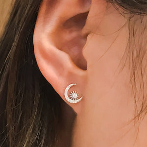 Sterling Silver CZ Fashion Moon and Star Earrings Studs Wholesale 2