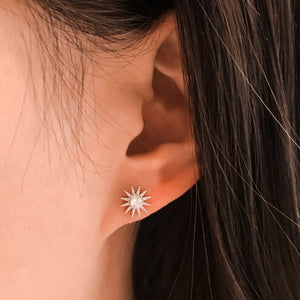 Sterling Silver CZ Fashion Moon and Star Earrings Studs Wholesale 3
