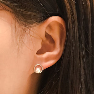 Sterling Silver Simple Round Pearl Earrings Studs Wholesale 2