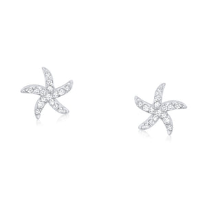 Sterling Silver CZ Mini Starfish Earrings Wholesale