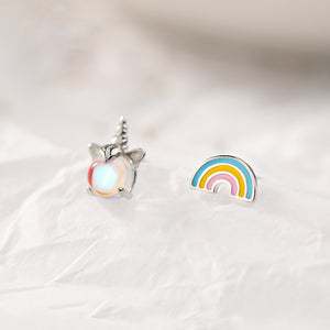 Rainbow and Unicorn 925 Sterling Silver Stud Earring Wholesale