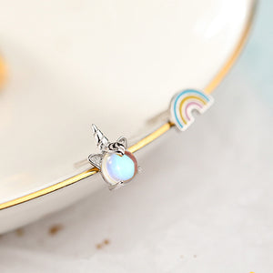 Rainbow and Unicorn 925 Sterling Silver Stud Earring Wholesale 2