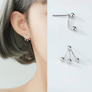 Round Ball Solid Sterling Silver Jacket Earrings, Front Back Ear Jacket Cuff Wholesale
