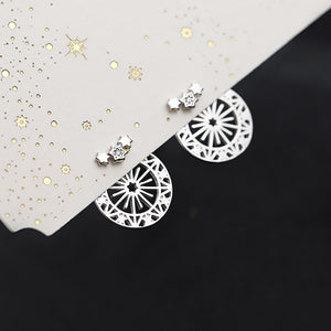 Sterling Silver Irregular Geometric Stud Earrings Wholesale 3