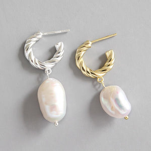 Sterling Silver Natural Baroque Pearl Earrings Wholesale