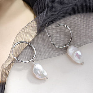 Sterling Silver Baroque Pearl Hoop Earrings Wholesale 2
