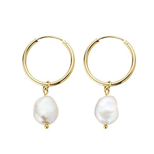 Sterling Silver Baroque Pearl Hoop Earrings Wholesale 7