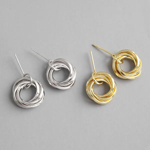 Triple Rings Silver Earrings Dangle Wholesale