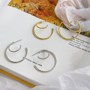 Sterling Silver Double Round Hoop Earrings Wholesale 2