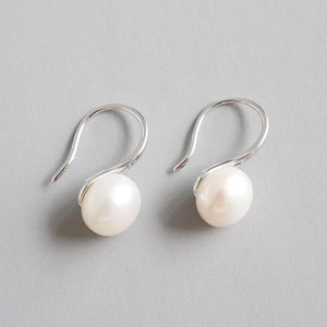 Sterling Silver Dangle Pearl Earrings Wholesale 2