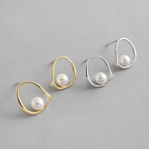 Sterling Silver Shell Pearl simple Stud Earrings Wholesale