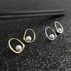 Sterling Silver Shell Pearl simple Stud Earrings Wholesale 2