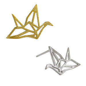 Sterling Silver Paper Cranes Stud Earrings Wholesale