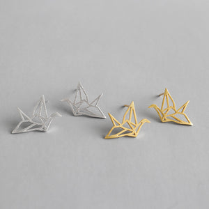 Sterling Silver Paper Cranes Stud Earrings Wholesale 3