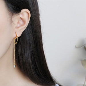 Cz Tassel Threader Dangle Hoop Earrings Wholesale 2