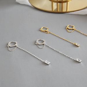 Cz Tassel Threader Dangle Hoop Earrings Wholesale 3