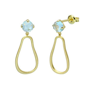 Sterling Silver Natural Blue Topaz Dangle Earrings Wholesale 2