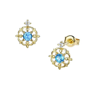 Vintage Minimalist Natural Blue Topaz Earrings Studs Wholesale