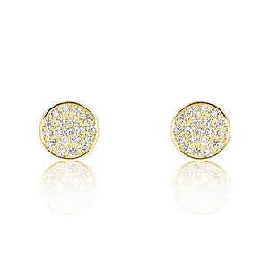 18K Gold Plated Silver Cubic Zirconia Modern Circle Earrings Wholesale