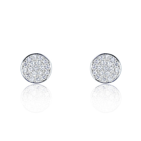 Sterling Silver Cubic Zirconia Modern Circle Earrings Wholesale Lots