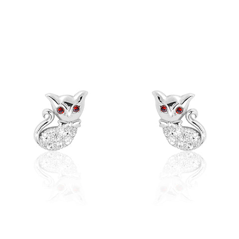 Sterling Silver Red Crystal Lovely Cat Earrings Wholesale Lots