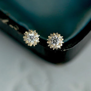 Sterling Silver CZ Charming Flowers Stud Earrings Wholesale 2