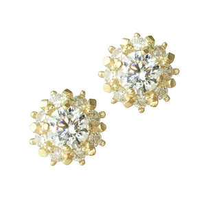 Sterling Silver CZ Charming Flowers Stud Earrings Wholesale 3