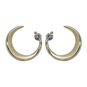 Sterling Silver Mini Moon Stud Earrings Wholesale 3