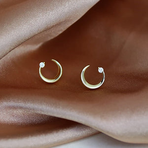 Sterling Silver Mini Moon Stud Earrings Wholesale
