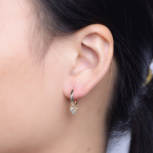 925 Sterling Silver Cluster Drop Hoop Earrings Wholesale 3