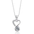"Gracious Heart Sterling Silver 1.4 Ct CZ Pendant Necklace 16""+ 2"""
