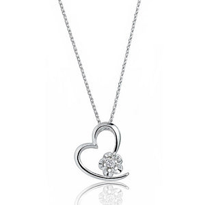 Beautiful Heart Silver CZ Necklace Wholesale Lots
