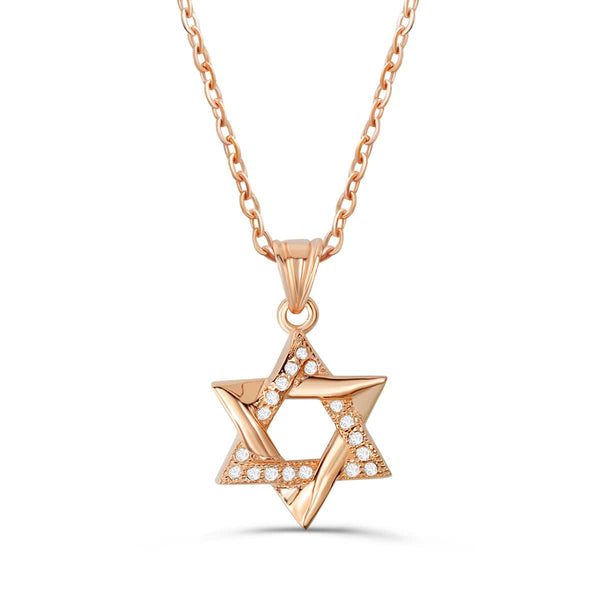 Rose Silver Star Of David Pendant Necklace Wholesale