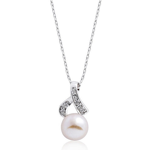 Gracious Sterling Silver Pearl and CZ Necklace Wholesale Lots