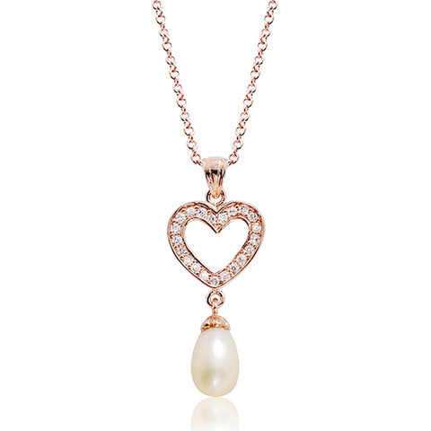 CZ Rose Gold Plated Silver Pearl Heart Necklace Wholesale Lots