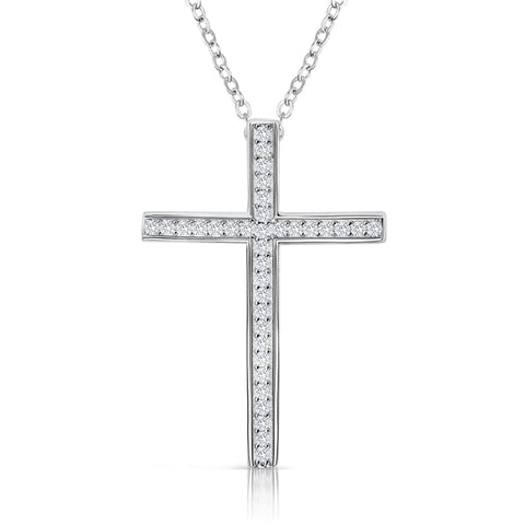 Sterling Silver CZ Classic Cross Pendant Necklace Wholesale